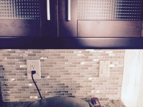 Mosaic Backsplash But We Dont Know What Switch Wall Plates Will Go With The Kitchen So Far Are Between Light Almond Ivory Or Stainless Steel