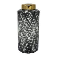 """Sagebrook Home Ceramic 12.5"""" Ginger Jar, Black/White"""
