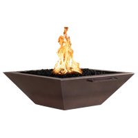"""Maya 30"""" Electronic Ignition Copper Natural Gas Fire and Water Bowls, Set of 2"""