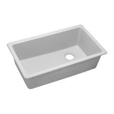 "Elkay Quartz Classic 33""x18.75""x9.5"", 1-Bowl Undermount Sink, White"