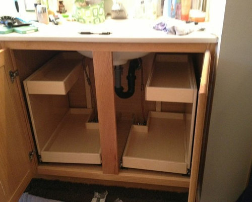 Bathroom Pull Out Shelves With Risers And Notched Corners Cabinets