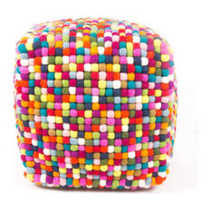 - Felt Ball Ottoman Pouf Multicolored - Footstools, Cubes and Ottomans