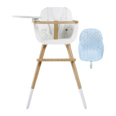 Ovo White Plus One High Chair With Seat Pad, Blue Stars