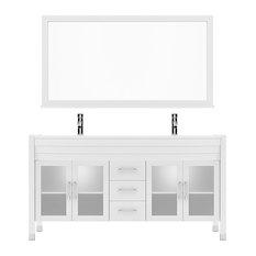 "Ava 63"" Double Vanity Cabinet Set, White Sink, White Stone Top, Polished Chrome"