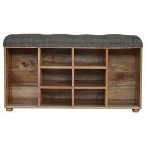Shoe Cabinet With Upholstered Seat, Oak Finish Mango Wood