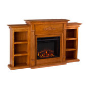 Canterbury Electric Fireplace With Bookcases, Glazed Pine