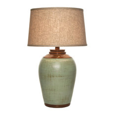 Viga   Tuscan Table Lamp With Shade, Celadon Green   Table Lamps