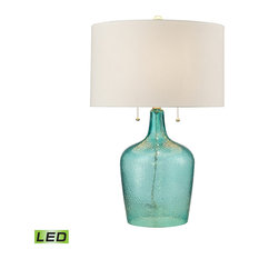 Hand blown glass table lamp houzz dimond lighting hatteras hammered glass led table lamp seabreeze table lamps mozeypictures Choice Image