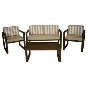 Outdoor 4-Piece Munich Furniture Set With 2-Seater Sofa, Bronze