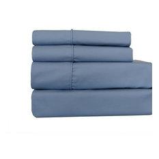 650TC Wrinkle-Free Solid Cotton Blend Sheet Set, Blue, Split California King