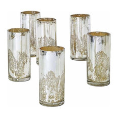 Antique Silver Glass Cylinders, Set of 6
