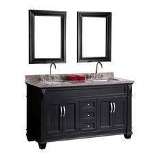 "Hudson 60"" Double Sink Vanity Set, Espresso"