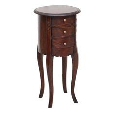 Mahogany 3-Drawer Bedside Table, Walnut