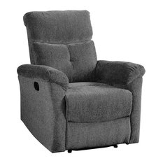 Contemporary Recliner Motion Reclining Mechanism And Padded Armrest Grey