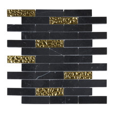 "Black Marquina Marble Gold Glass Brick Joint Mosaic Tile, 12""x13.75"", Set of 5"