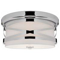 2-Light Flush Mount Ceiling Light Glass Diffuser, Chrome