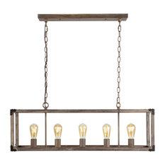 "Magnolia 36"" 5-Light Linear Adjustable Iron Rustic LED Pendant, Brown"