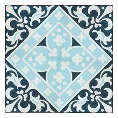 Victorian Encaustic Cement Tile, Set of 13, 8x8