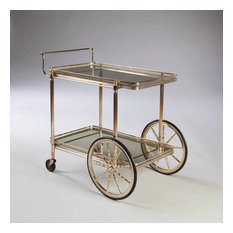 A fine mid century silvered and polished brass drinks trolley,