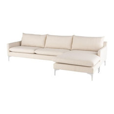 Anders Reversible Sectional Sand Fabric/Brushed Stainless Legs