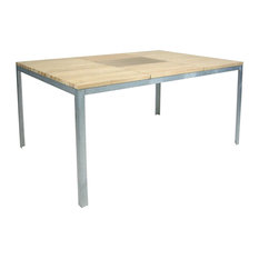 Outdoor Larch Wood Dining Table With Planter, Small
