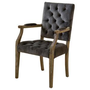 GDF Studio Myrtle Velvet Charcoal Arm Dining Chair