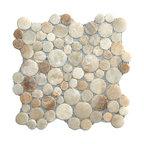 """12""""x12"""" Glazed Mixed Quartz Moon Mosaic Tile"""
