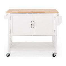Drake Farmhouse Kitchen Cart With Wheels, White and Natural