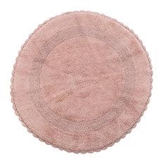 """Saffron Fabs Bath Rug 36"""" Reversible Hand Knit Crochet Lace Border, Coral"""