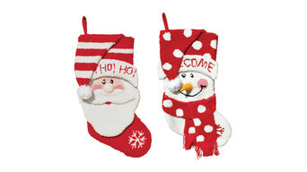 "18.5"" Hooked Santa and Snowman Stockings, Set of 2"