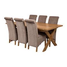 Vermont Oak Extending Dining Table, 6 Montana Chairs, Grey Velvet Effect