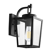 MOTINI Black Outdoor Wall Lights with Motion Sensor, Clear Glass Shade, 12''