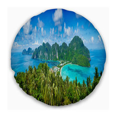 "Tropical Island Panorama Photography Throw Pillow, 20"" Round"