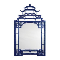 Jemaa Global Bazaar Asian Navy Lacquer Frame Chinoiserie Mirror