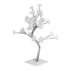 Small White Morning Glory Led Lighted Decorative Tree