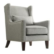 Loris Contemporary Linen Wingback Accent Chair, Gray