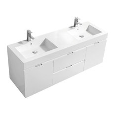 "Bliss 60"" Double Sink High Gloss White Wall Mount Modern Bathroom Vanity"