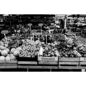 Food Market Fine Art Print, Black and White, 75x50 cm