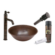 Round Wired Rimmed Vessel Hammered Copper Sink, Orb Vessel Faucet