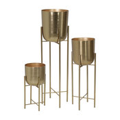 Metal Planters On Stand, Gold