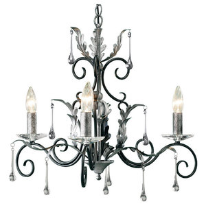 Amarilli 3-Light Chandelier, Black and Silver