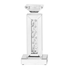 """Sparkle 6"""" Contemporary Crystal Candleholder, Clear"""