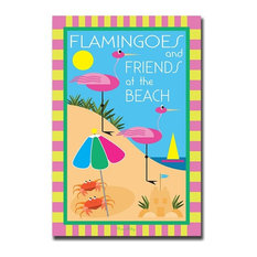 Giclee 24x36-Flamingoes and Friends at the Beach by Grace Riley