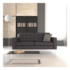 LeisureMod Mid-Century Florence Upholstered Tufted Loveseat, Dark Gray Wool