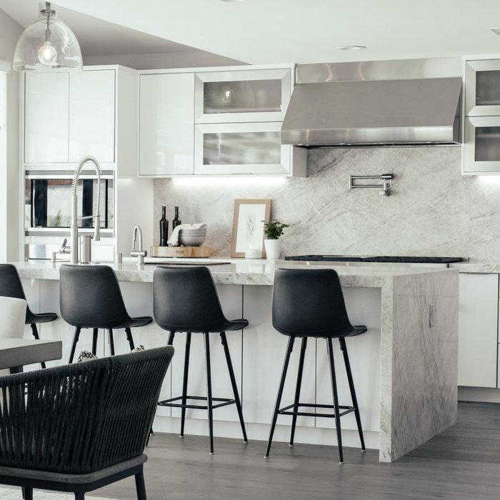 Modern Kitchen Design with waterfall island detail.