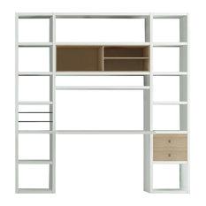 Torero Bookcase With Desk, White With Oak Detail