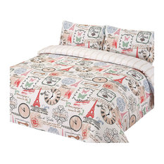 Parisienne Eiffel Tower Bedding Set, Duvet Cover With Pillowcases, Pink, Double