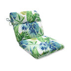 Soleil Blue/Green Rounded Corners Chair Cushion