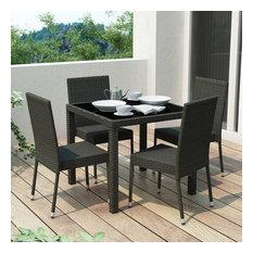 CorLiving Park Terrace 5 Piece Wicker Patio Dining Set in Black