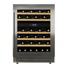 Dunavox 46 Bottle Built In Dual Zone Wine Cooler, Stainless Steel